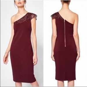 NEW Ted Baker Burgundy One Sleeve Dress Size M 3